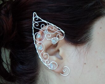 Fairy ear cuff Elven ears elf costume wire wrapped earcuff in silver and crystal beads cosplay fantasy forest LOTR