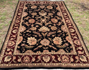 "Persian (Afshan) Design Indian Agra Rug, Hand-Knotted Overall (Black, Red, Gold) 287cm x 186cm (9'4"" x 6'10"")"