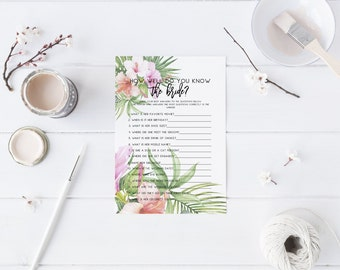 Tropical How well do you know the bride Bridal Shower Game Guessing Game Memory Game Printable game Wedding Shower game Tropical Floral 101