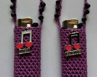 Purple beaded 'best friends' cozy set of two.