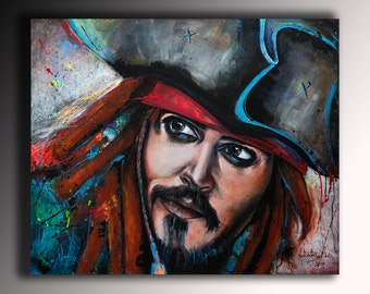 Art Portrait Painting Abstract Large Contemporary Original Acrylic Jack Sparrow Famous People Colored Wall Canvas