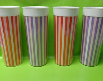 Thermal Tumblers Insulated Cups Carnival Color Stripes
