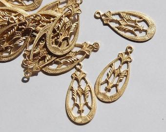 1 Loop Ornate Filigree Brass Teardrop Charm Findings (6) mtl314B