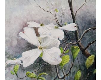 Flowering Dogwood Rainy Afternoon Painting, Watercolor Wall Art - Print