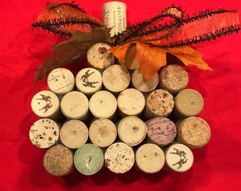 Fall Halloween harvest pumpkins made with recycled wine corks