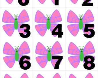 Butterfly - Numbers 0-31 Pocket Chart Cards - Perfect for Preschool - Kindergarten - homeschool - Instant Download