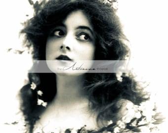Instant Art Printable Download - Flower Child Victorian Woman Portrait Photograph - Altered Art Paper Crafts Scrapbooking - Flowers Hair