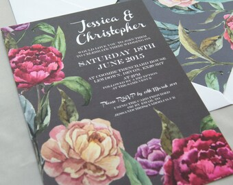 Midnight Rose Charcoal Grey & Plum Floral Wedding Invitations And Stationery
