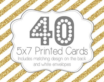 40 PRINTED INVITATIONS and white envelopes