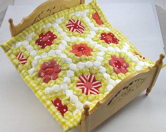 Dollhouse Miniature Patchwork Quilt in 12th Scale - Sunshine Flower Garden