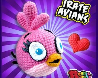 """Pink """"Irate Avian"""" crochet stuffed plush"""