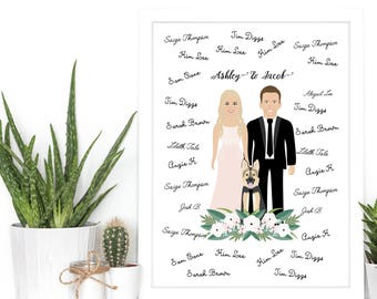 Custom Illustration, Guestbook Alternative, Illustrated guestbook, Drawing guestbook, Couple portrait, Full body, Unique Guestbook