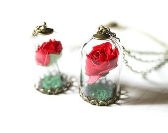 Beauty and the beast necklace | Enchanted Rose | Rose Necklace | Belle necklace