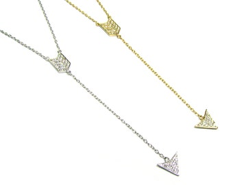 CZ Y Arrow Necklace, In your choice of Gold Vermeil or Sterling Silver
