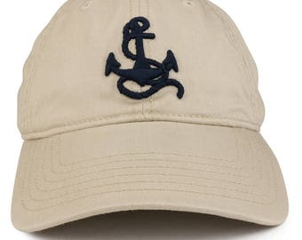 3D Anchor Embroidered Washed Twill Cotton Adjustable Baseball Cap (76-626)
