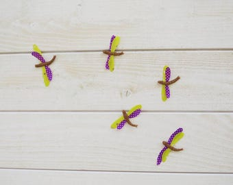 Set of 5 green and purple dragonflies decorative for wall mounting