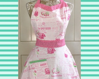 Garden Pink and Green apron