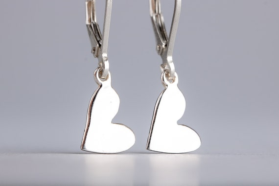 Tiny Silver Sideways Heart Earrings - Simple Sterling Silver Lever Back Earrings - Heart Dangle Drop Earrings - Small Silver Heart Earrings