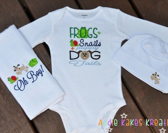 Custom Embroidered Frogs and Snails and Puppy Dog Tails Baby Bodysuit Hat and Burpcloth (or Bib) Set / Newborn - 24 Months