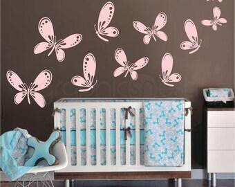 FLUTTER OF BUTTERFLIES wall decals - Nursery children decor - Flying butterfly group by Graphics Mesh