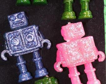 Resinettes Fun & Quirky brooches..Domo Arigato ..Mister Roboto :)