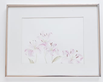 flower watercolor - Original 11x14 Lilly painting
