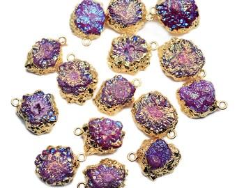 Titanium Pink Druzy Pendant, 22k Gold Electroplated 22x15mm Drusy Fashion Jewelry Necklace Pendant GemMartUSA (DE-50982)