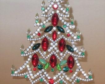 Vintage Christmas Tree Czech Rhinestones Glass Stones