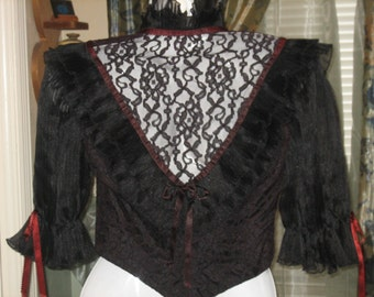 Gothic Punk Black Lace Tie Blouse Long Sleeve, CLEARANCE, Punk, Rocker Style Dress, Lace Blouse, Black and Maroon, CLEARANCE
