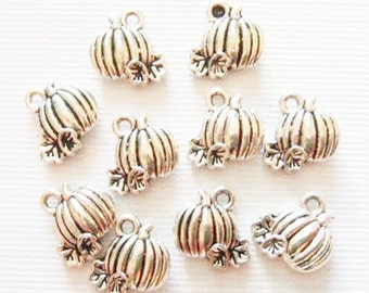 12 Pumpkin Charms  (double sided puffed) 11x9mm ITEM:U7