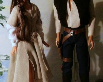 Star Wars character dolls OOAK Han and Leia