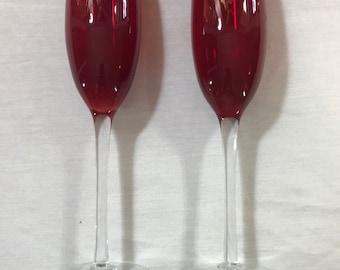 Vintage red fluted champagne crystal