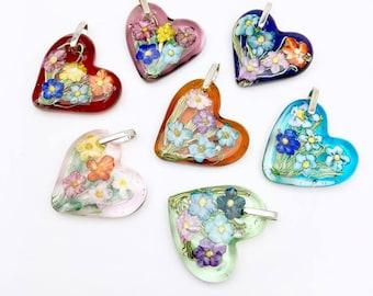 Gardeners Delight Flameworked Heart Flower Pendant