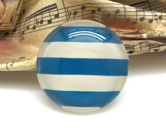2 cabochons glass spirit sailor striped Blue 10 mm - 10 mm