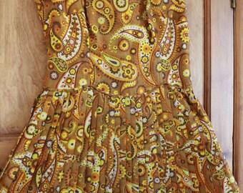 Vintage yellow paisley floral pleated mod go go 60s 70s mini midi dress M UK 10 12