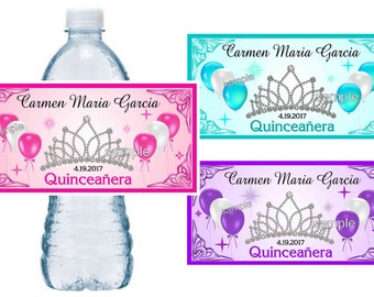 50 ~ QUINCEANERA party favors water bottle labels ~ glossy ~ waterproof ink