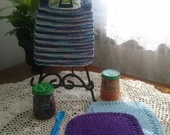Seashore Blue Hand Knit Baby Bib and Washcloth Set