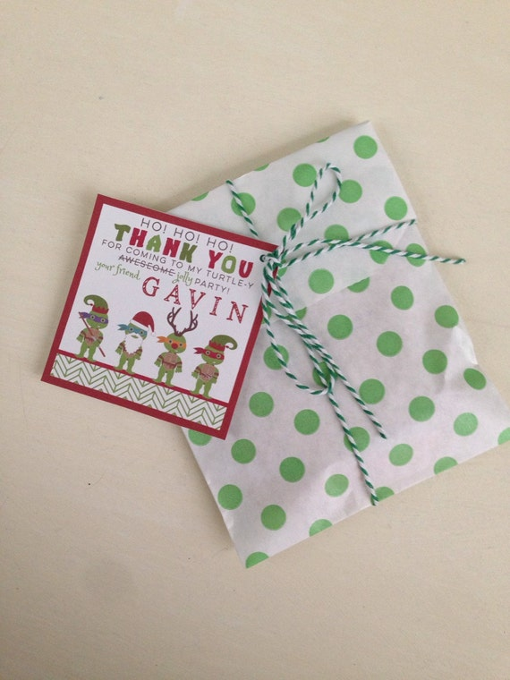 TMNT Christmas Favor Tags - Teenage Mutant NInja Turtle Party - Party Supplies