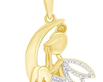 Jewel Zone US Natural Diamond Accent Fairy on Crescent Moon Pendant Necklace In 14K Gold Over Sterling Silver