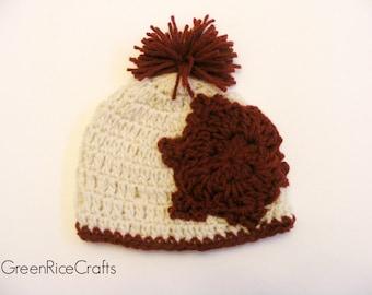 Cream and Crimson Crocheted Snowflake Pom Pom Beanie