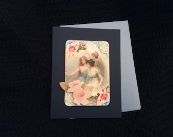 Beautiful ladies Card handmade Victorian