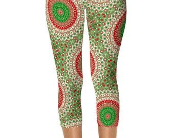 Capris Christmas Leggings Women, Holiday Capri Leggings, Red and Green Mandala Yoga Pants, Printed Tights
