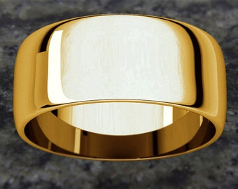 8mm Half Round (D Shape) 14K Gold Wedding Band (available in Yellow Gold, Rose Gold and White Gold options)