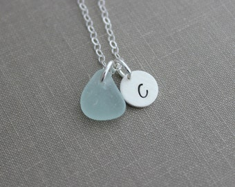 Genuine Sea Glass Initial Necklace, Personalized Charm Necklace with Authentic Sea Glass and Initial Charm Sterling Silver - Simple modern