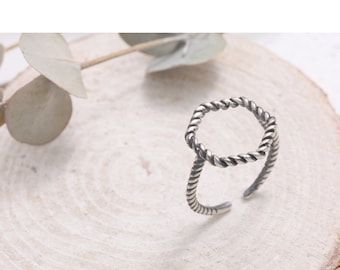 Oxidized Sterling Silver Rope Hexagon Open Band Ring