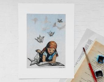Original art print, bookworm, origami bird,childrens room print, gift bookworms, paper crane, print book page, book art, crane, gift girls