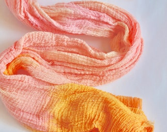 Orange ombre table runner, ombre orange tapestry, eco friendly + hand dyed, created with pure joy, wedding decor, party decor