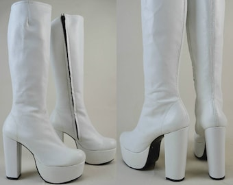 90s Does 70s White Leather Knee High Platform Boots UK 6 / US 8.5 / EU 39