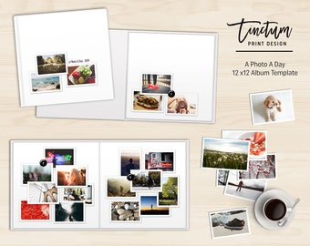 Daily photo album template | A Photo A Day | Photoshop Album template - 12x12 inch daily photo book