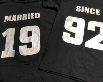 25th SILVER Anniversary gift - Couples T-Shirts,  'MARRIED SINCE' set of 2 Matching Tees